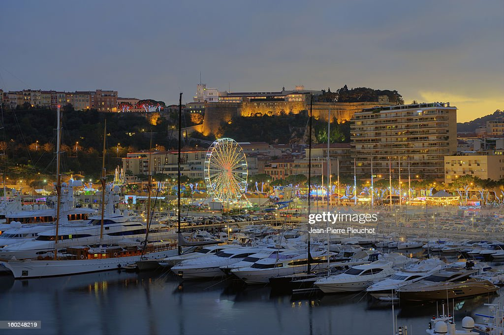 Monaco harbour at dusk, at Christmas time : Stock Photo