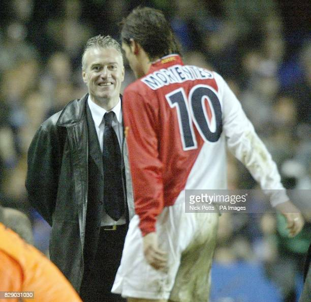 Monaco head coach Didier Deschamps smiles at his goalscorer Morientes is substituted as Chelsea lose 53 on agg during their UEFA Champions League...