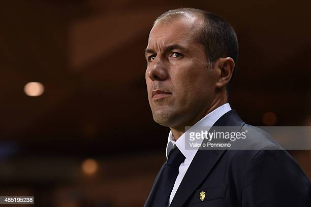 Monaco head coach Leonardo Jardim looks on prior to the UEFA Champions League qualifying round play off second leg match between Monaco and Valencia...