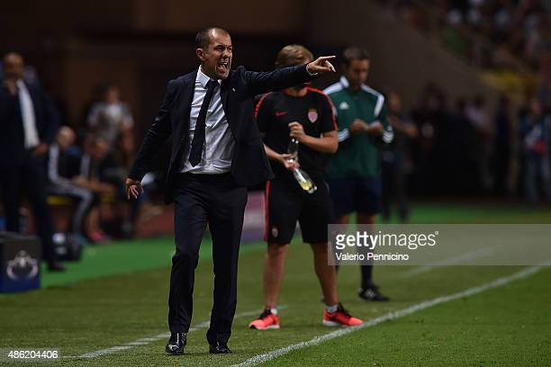 Monaco head coach Leonardo Jardim shouts to his players during the UEFA Champions League qualifying round play off second leg match between Monaco...