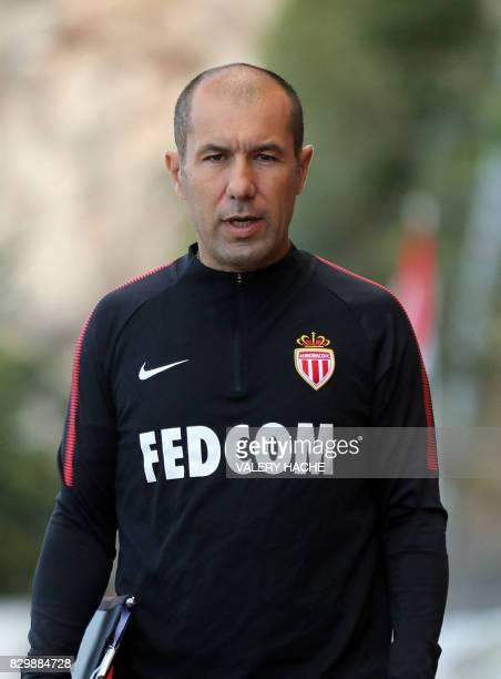 Monaco L1 football club's coach Portuguese Leonardo Jardim arrives for a training session on August 11 2017 in La Turbie near Monaco / AFP PHOTO /...