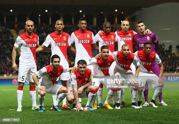 Monaco line up prior to the UEFA Champions League round of 16 second leg match between AS Monaco and Arsenal at Stade Louis II on March 17 2015 in...