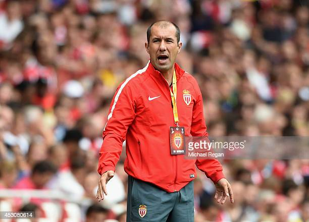 Monaco manager Leonardo Jardim looks on during the Emirates Cup match between Valencia and AS Monaco at the Emirates Stadium on August 2 2014 in...