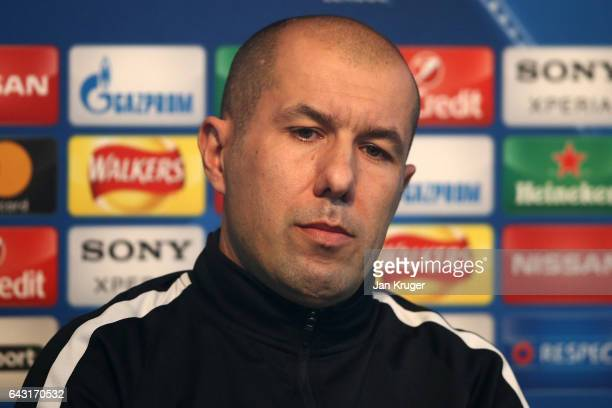 Monaco manager Leonardo Jardim speaks to the media during a Monaco Training Session and Press Conference ahead of their UEFA Champions League Round...