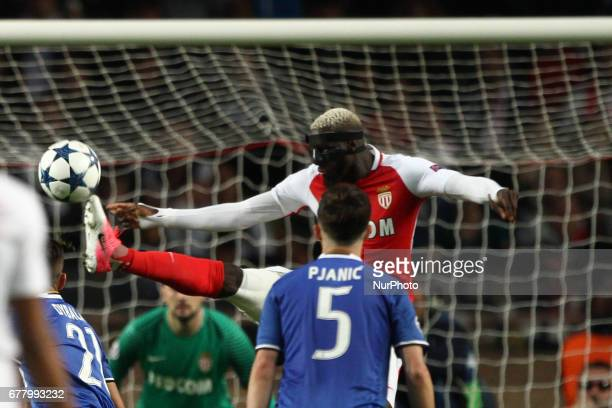 Monaco midfielder Tiemoue Bakayoko kicks the ball during the Uefa Champions League semi finals football match MONACO JUVENTUS on at the Stade Louis...