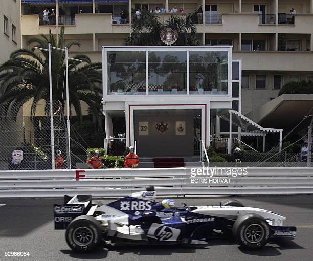 BMWWilliams German driver Nick Heidfeld steers his car in front of the Prince family lodge empty because of mourning on the Monaco racetrack during...