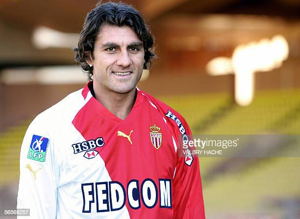 Monaco new recruit Italian forward Christian Vieri poses with his new jersey 11 January 2006 in Monaco during his official presentation Vieri will...