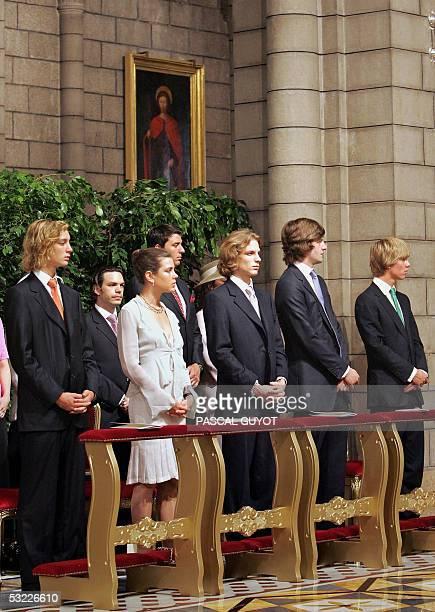 Princess Caroline of Monaco's children Pierre Casiraghi Charlotte Casiraghi Andrea Casiraghi and her sonsinlaw Prince ErnstAugust of Hanover and...