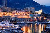 Monaco, Monte Carlo, city at dusk