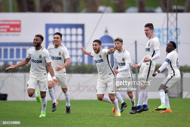 Monaco players celebrate during the UEFA Youth League match between AS Roma and AS Monaco at Stadio Tre Fontane on February 8 2017 in Rome Italy