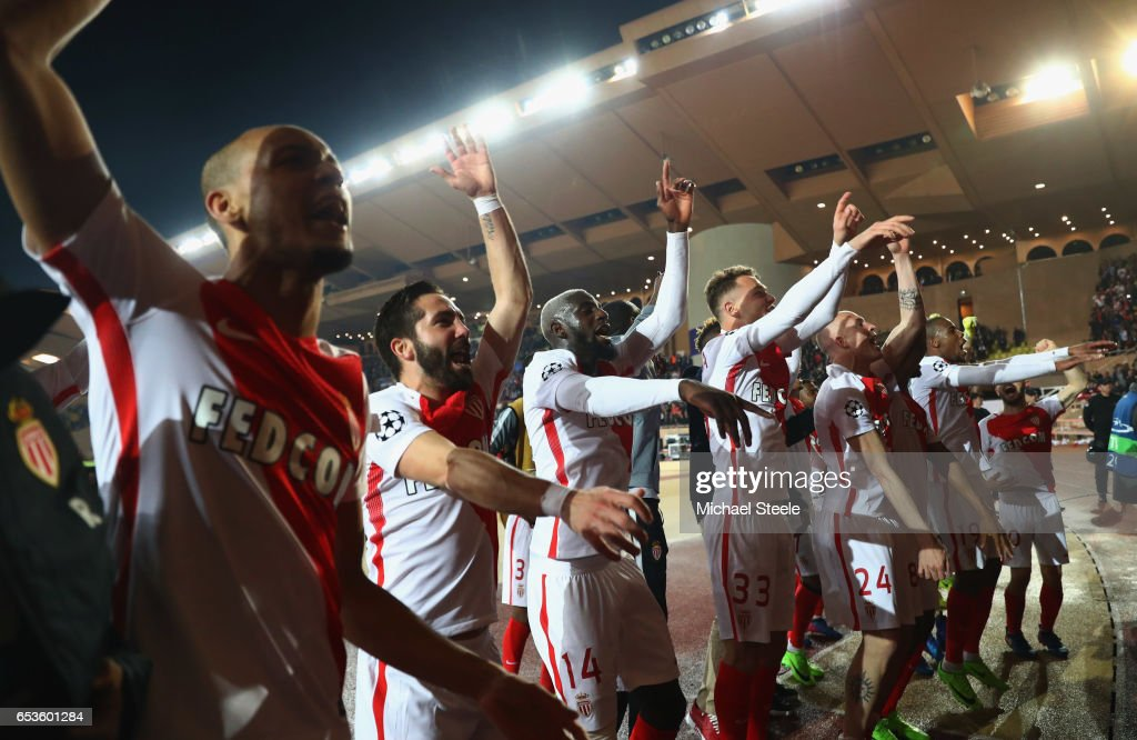 Monaco players celebrate victory after the UEFA Champions League Round of 16 second leg match between AS Monaco and Manchester City FC at Stade Louis II on March 15, 2017 in Monaco, Monaco. Monaco won by 3 goals to 1 and progress to the quarter finals on the away goals rule.