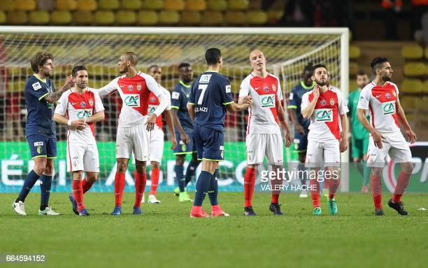 Monaco players celebrates after winning the French Cup football match between Monaco vs Lille at the 'Louis II' stadium in Monaco on April 4 2017 /...