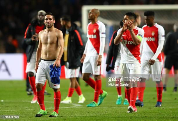 Monaco players look dejected after the full time whistle during the UEFA Champions League Semi Final first leg match between AS Monaco v Juventus at...