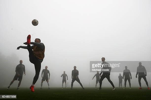 Monaco players take part in a training session ahead of the UEFA Champions League Group E match against Tottenham Hotspur FC at La Turbie training...