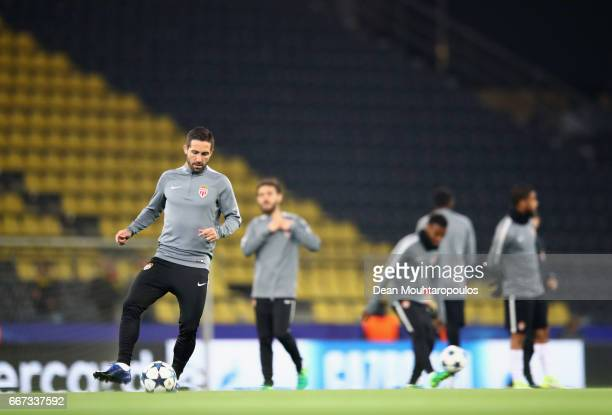 Monaco players take part in an impromptu training session as the match is postponed ahead of the UEFA Champions League Quarter Final first leg match...