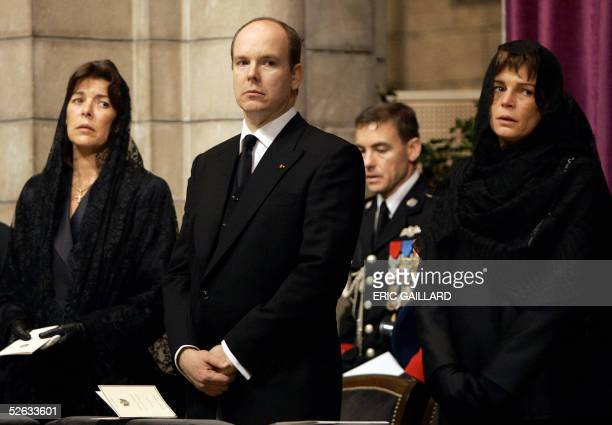 Princess Caroline of Hanover Prince Albert of Monaco and Princess Stephanie of Monaco attend the funeral mass of late Monaco's Prince Rainier III 15...