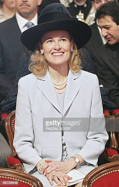 Princess Sophie of Liechtenstein smiles as she attends the Pontifical Mass for the investiture of Albert II of Monaco celebrated in the presence of...
