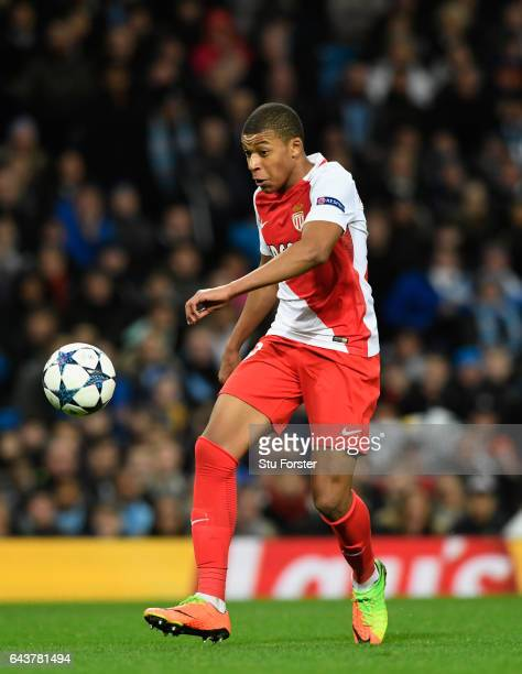 Monaco striker Kylian Mbappe in action during the UEFA Champions League Round of 16 first leg match between Manchester City FC and AS Monaco at...