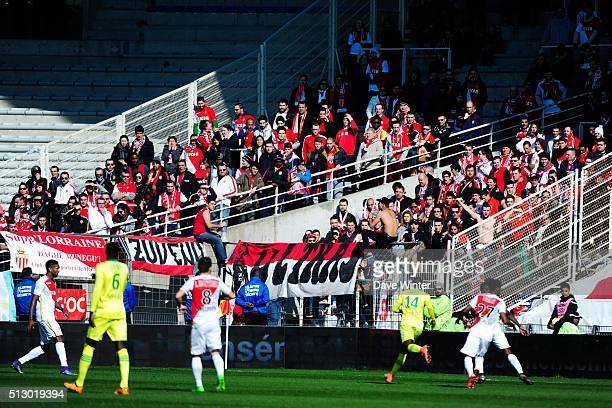 Monaco supporters during the French Ligue 1 game FC Nantes v AS Monaco at Stade de la Beaujoire on February 28 2016 in Nantes France
