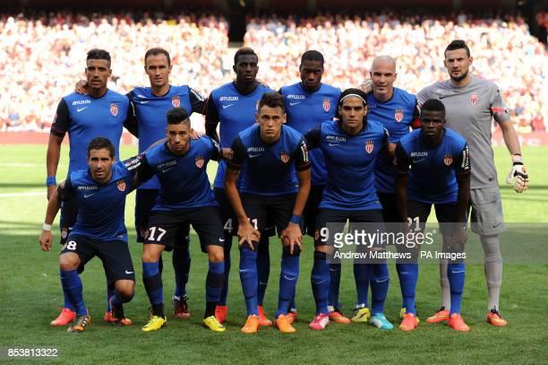 AS Monaco team group back row Nabil Dirar Ricardo Carvalho Tiemoue Bakayoko Geoffrey Kondogbia Andrea Raggi and goalkeeper Danijel Subasic front row...