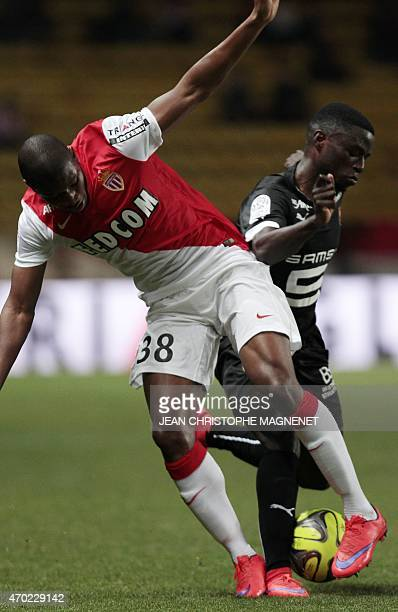 Monaco's Afghan defender Almamy Toure vies with Rennes' French Cameroonian forward PaulGeorges Ntep during the French L1 football match Monaco vs...