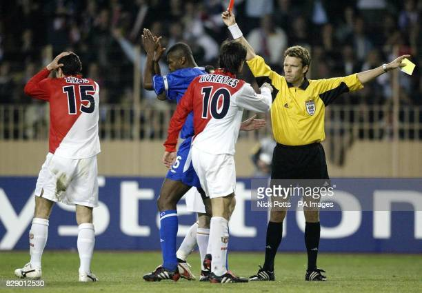 Monaco's Andreas Zikos is sent off by referee Urs Meier after Zikos slaped Chelsea's Claude Makelele around the face during Chelsea's 31 defeat...
