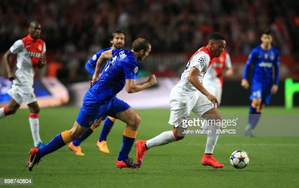 Monaco's Anthony Martial runs away from Juventus' Giorgio Chiellini