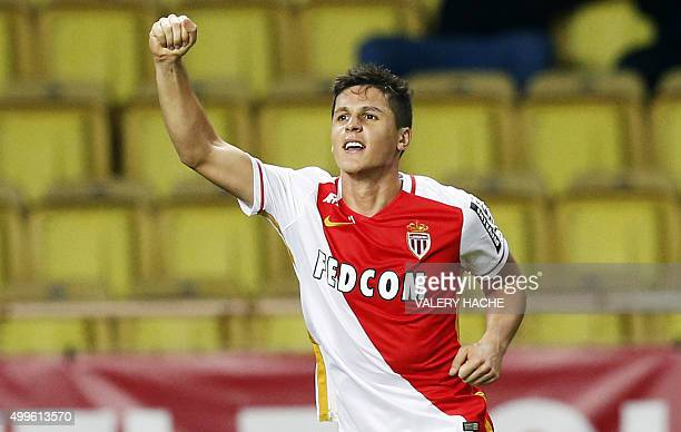 Monaco's Argentinian forward Guido Carrillo celebrates after scoring a goal during the French L1 football match between Monaco and Caen on december 2...