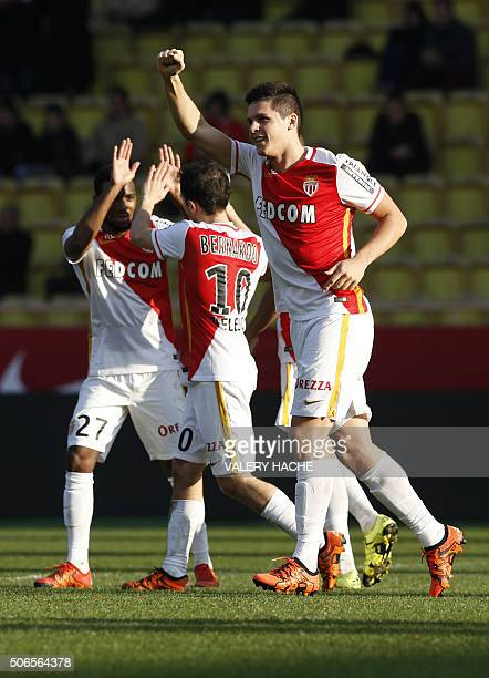 Monaco's Argentinian forward Guido Carrillo celebrates after scoring a goal during the French L1 football match Monaco vs Toulouse on January 24 2016...