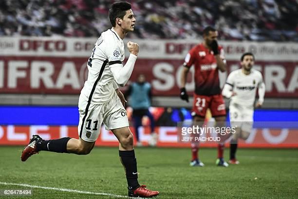Monaco's Argentinian forward Guido Carrillo celebrates after scoring a goal during the French L1 football match Dijon vs Monaco on November 29 2016...