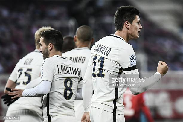 Monaco's Argentinian forward Guido Carrillo celebrates after scoring a goal during the French L1 football match Dijon vs Monaco on November 29 2016...