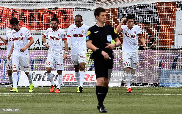 Monaco's Argentinian forward Guido Carrillo celebrates after scoring during the French L1 football match Lorient vs Monaco on January 17 2016 at the...