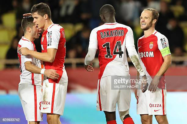 Monaco's Argentinian forward Guido Carrillo celebrates with teammates after scoring a goal during the French L1 football match between Monaco and...