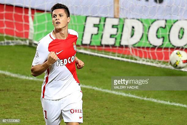 Monaco's Argentinian forward Guido Carrillo reacts after scoring a goal during the French L1 football match Monaco vs Nancy on November 5 2016 at the...