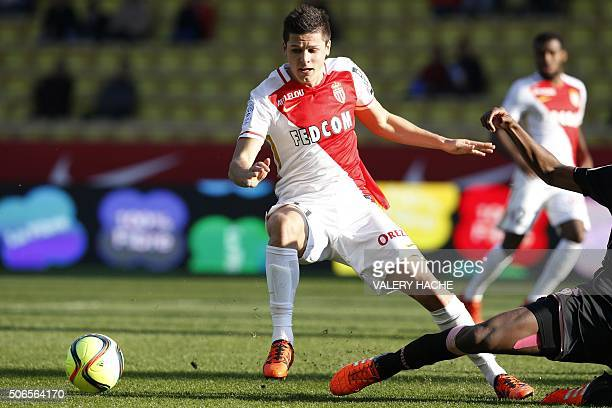 Monaco's Argentinian forward Guido Carrillo runs with the ball during the French L1 football match Monaco vs Toulouse on January 24 2016 at the Louis...