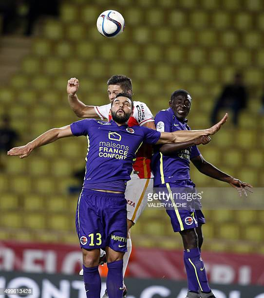 Monaco's Argentinian forward Guido Carrillo scores a goal during the French L1 football match between Monaco and Caen on december 2 2015 at the Louis...