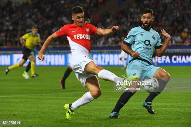 Monaco's Argentinian forward Guido Carrillo shoots on goal during the UEFA Champions League Group G football match AS Monaco FC vs FC Porto on...