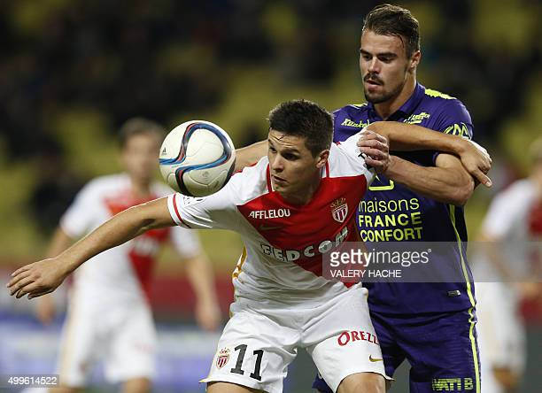 Monaco's Argentinian forward Guido Carrillo vies with Caen's French defender Damien Da Silva during the French L1 football match between Monaco and...