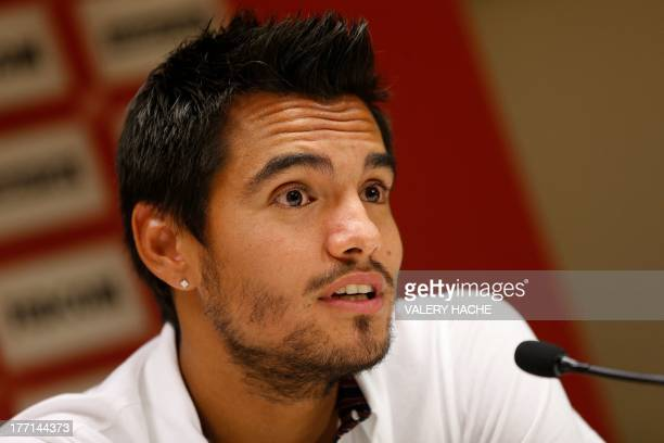 Monaco's Argentinian goalkeeper Sergio Romero speaks during a press conference on August 21 2013 in Monaco Romero will join Ligue 1 club Monaco on a...