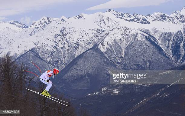Monaco's Arnaud Alessandria competes during the Men's Alpine Skiing Downhill at the Rosa Khutor Alpine Center during the Sochi Winter Olympics on...