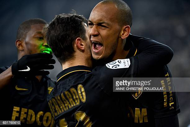 Monaco's Be Mota Veiga de Carvalho E Silva celebrates with Monaco's defender Fabio Tavare safter scoring a goal during the French L1 football match...