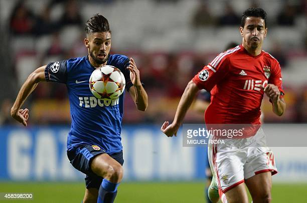 AS Monaco's Belgian forward Yannick Ferreira Carrasco vies with Benfica's defender Andre Almeida during the UEFA Champions League group C football...