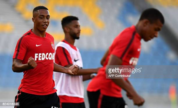 Monaco's Belgian midfeilder Youri Tielemans reacts during a training session at the Grand Stade in Tangiers on July 28 2017 on the eve of the French...