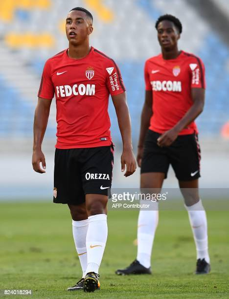Monaco's Belgian midfeilder Youri Tielemans takes part in a training session at the Grand Stade in Tangiers on July 28 2017 on the eve of the French...