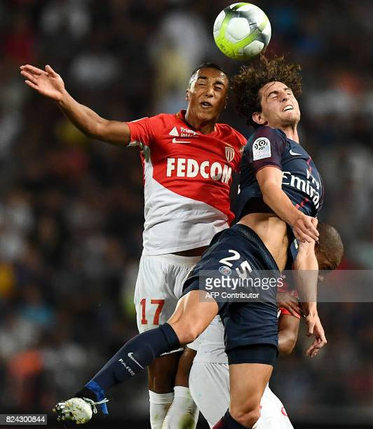 Monaco's Belgian midfeilder Youri Tielemans vies with Paris SaintGermain's French midfielder Adrien Rabiot during the French Trophy of Champions...