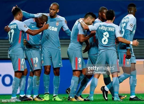 Monaco's Belgian midfielder Youri Tielemans celebrates with teammates after scoring during the UEFA Champions League group G football match RB...