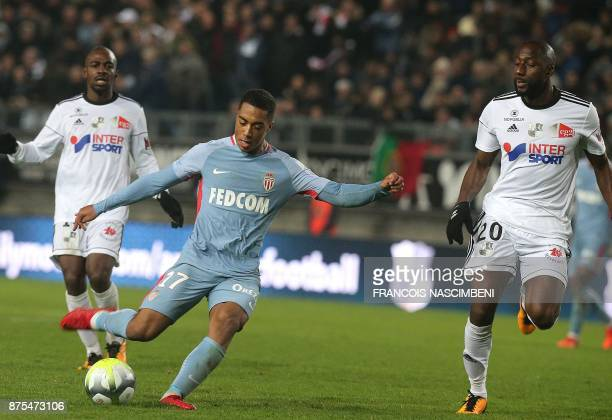 Monaco's Belgian midfielder Youri Tielemans kicks the ball past Amiens' midfielder Sekou Baradji during the French L1 football match Amiens vs Monaco...