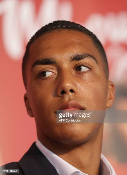Monaco's Belgian midfielder Youri Tielemans looks on during a press conference part of the official presentation of new players for French L1...