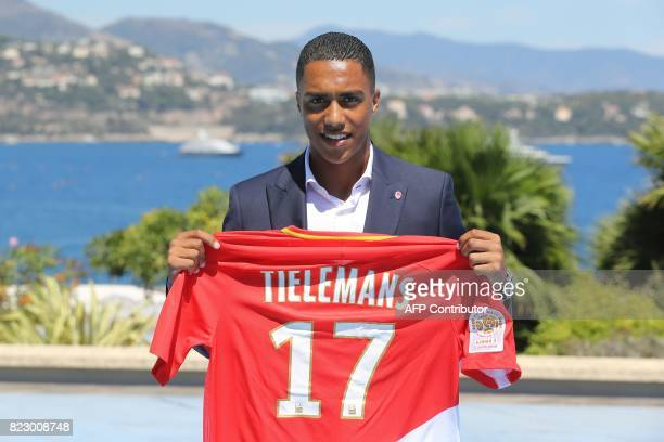 Monaco's Belgian midfielder Youri Tielemans poses during the official presentation of new players for French L1 football club of Monaco in Monaco on...