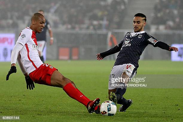 Monaco's Brazilian defender Fabinho and Bordeaux' Algerian midfielder Adam Ounas vie for the ball during the French L1 football match between...